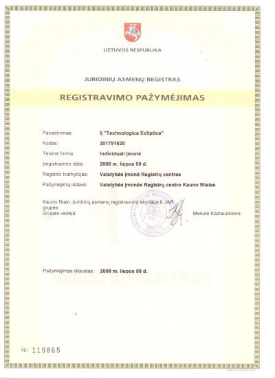 Įmonės registravimo pažymėjimas, Lietuvos respublika, juridinių asmenų registras